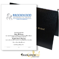 "Pliable Black Diploma Cover & Custom Certificate (5.5"" x 8.5"")"