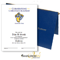 Pliable Blue Christian Diploma Cover & Custom Certificate