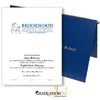 "Pliable Blue Diploma Cover & Custom Certificate (5.5"" x 8.5"")"