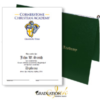Pliable Green Christian Diploma Cover & Custom Certificate