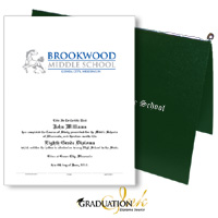 "Pliable Green Diploma Cover & Custom Certificate (5.5"" x 8.5"")"
