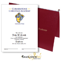 Pliable Maroon Christian Diploma Cover & Custom Certificate