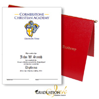 Pliable Red Christian Diploma Cover & Custom Certificate