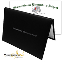 "Black Diploma Cover & Custom Diploma Sheet (5.5"" x 8.5"")"