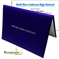 Royal Blue Christian Diploma Cover & Custom Diploma Sheet