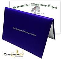 "Royal Blue Diploma Cover & Custom Diploma Sheet (5.5"" x 8.5"")"
