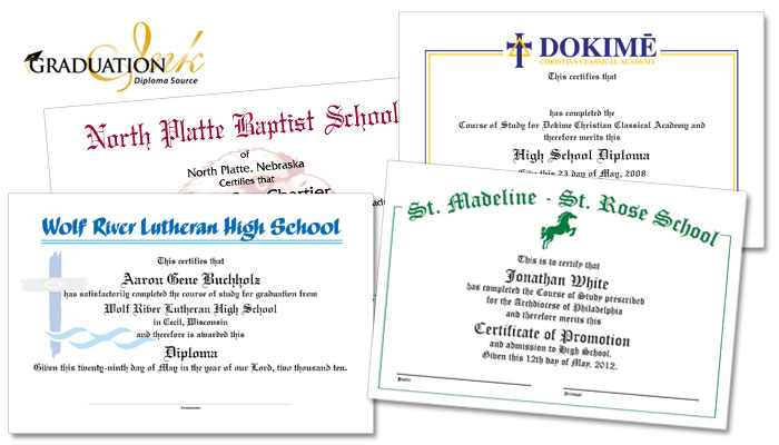 Catholic Diploma Sheets & Certificates