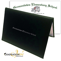 "Green Diploma Cover & Custom Diploma Sheet (5.5"" x 8.5"")"
