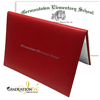 "Red Diploma Cover & Custom Diploma Sheet (5.5"" x 8.5"")"