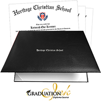 Black Padded Christian Diploma Cover & Custom Diploma Printing