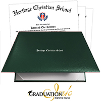 Green Padded Christian Diploma Cover & Custom Diploma Printing