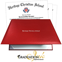Red Padded Christian Diploma Cover & Custom Diploma Printing