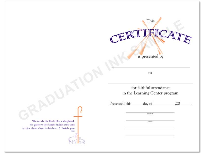 Christian Learning Center Certificate
