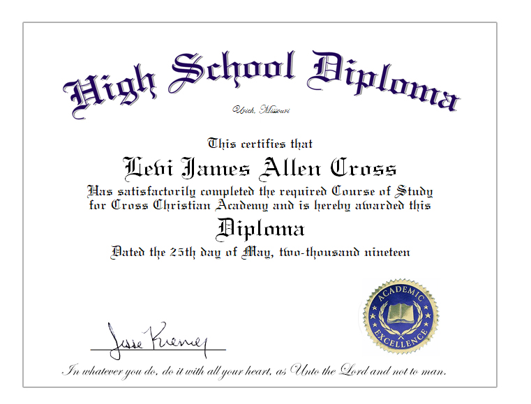 Home School Diploma Sheet for High School Graduates