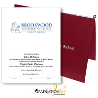 "Pliable Maroon Diploma Cover & Custom Certificate (5.5"" x 8.5"")"