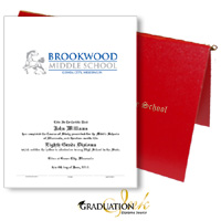 "Pliable Red Diploma Cover & Custom Certificate (5.5"" x 8.5"")"