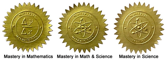 Mastery in Math and Science Stickers