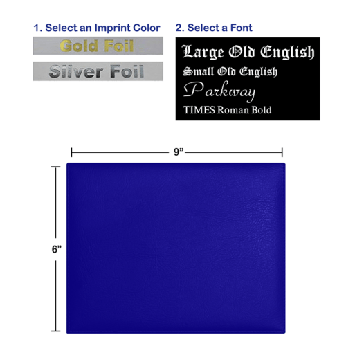Foil Stamped Royal Blue Diploma Cover